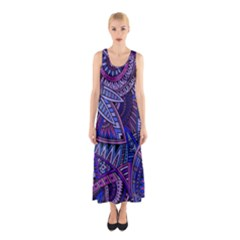 Abstract electric blue hippie vector  Sleeveless Maxi Dress