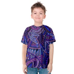 Abstract electric blue hippie vector  Kids  Cotton Tee