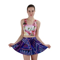 Abstract electric blue hippie vector  Mini Skirt