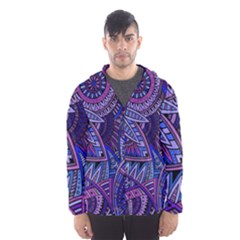 Abstract electric blue hippie vector  Hooded Wind Breaker (Men)
