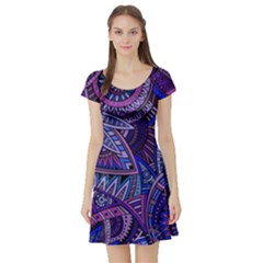 Abstract electric blue hippie vector  Short Sleeve Skater Dress