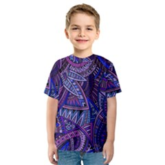 Abstract electric blue hippie vector  Kids  Sport Mesh Tee