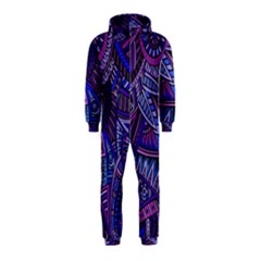 Abstract electric blue hippie vector  Hooded Jumpsuit (Kids)