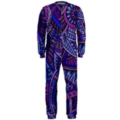 Abstract electric blue hippie vector  OnePiece Jumpsuit (Men)