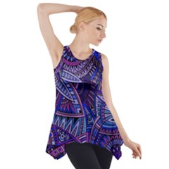Abstract electric blue hippie vector  Side Drop Tank Tunic
