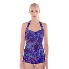 Abstract electric blue hippie vector  Boyleg Halter Swimsuit