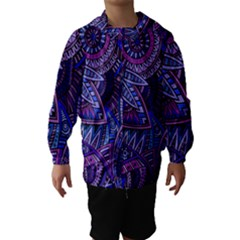 Abstract electric blue hippie vector  Hooded Wind Breaker (Kids)