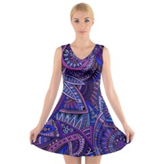 Abstract electric blue hippie vector  V-Neck Sleeveless Skater Dress