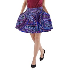 Abstract electric blue hippie vector  A-Line Pocket Skirt