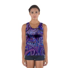 Abstract electric blue hippie vector  Women s Sport Tank Top