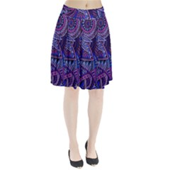 Abstract electric blue hippie vector  Pleated Skirt