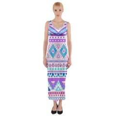 Tribal pastel hipster  Fitted Maxi Dress
