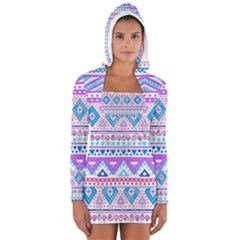 Tribal pastel hipster  Women s Long Sleeve Hooded T-shirt