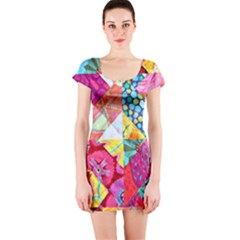 Colorful hipster classy Short Sleeve Bodycon Dress