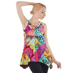 Colorful hipster classy Side Drop Tank Tunic