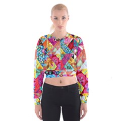Colorful hipster classy Women s Cropped Sweatshirt