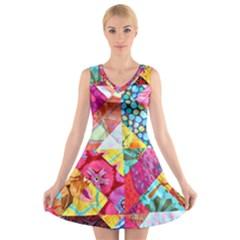 Colorful hipster classy V-Neck Sleeveless Skater Dress