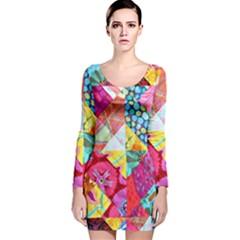 Colorful hipster classy Long Sleeve Velvet Bodycon Dress