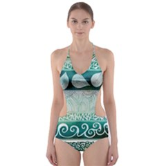 Deep blue tribal Cut-Out One Piece Swimsuit