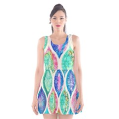 Rainbow moroccan mosaic  Scoop Neck Skater Dress