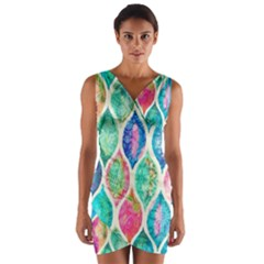Rainbow moroccan mosaic  Wrap Front Bodycon Dress