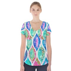 Rainbow moroccan mosaic  Short Sleeve Front Detail Top