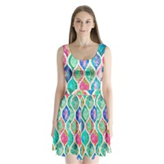 Rainbow moroccan mosaic  Split Back Mini Dress