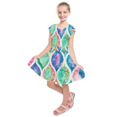 Rainbow moroccan mosaic  Kids  Short Sleeve Dress