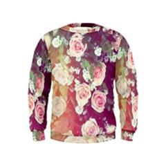 pink pastel roses Kids  Sweatshirt