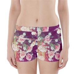 pink pastel roses Boyleg Bikini Wrap Bottoms