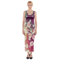 pink pastel roses Fitted Maxi Dress