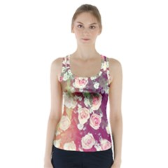 pink pastel roses Racer Back Sports Top