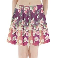 pink pastel roses Pleated Mini Skirt