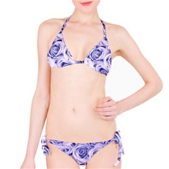 Electric white and blue roses Bikini Set