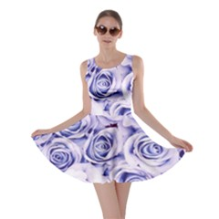 Electric white and blue roses Skater Dress