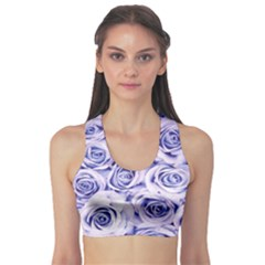 Electric white and blue roses Sports Bra