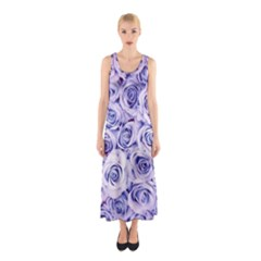 Electric white and blue roses Sleeveless Maxi Dress