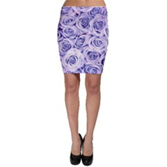 Electric white and blue roses Bodycon Skirt