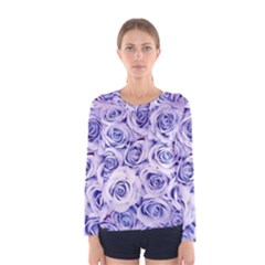 Electric white and blue roses Women s Long Sleeve Tee