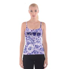 Electric white and blue roses Spaghetti Strap Top