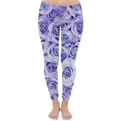Electric white and blue roses Classic Winter Leggings