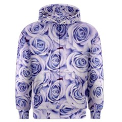 Electric white and blue roses Men s Zipper Hoodie