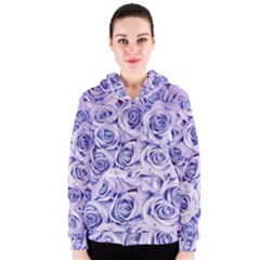 Electric white and blue roses Women s Zipper Hoodie