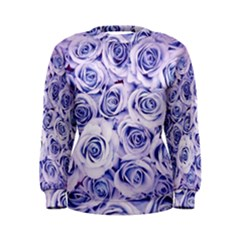 Electric white and blue roses Women s Sweatshirt