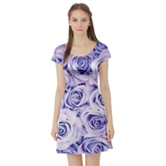 Electric white and blue roses Short Sleeve Skater Dress
