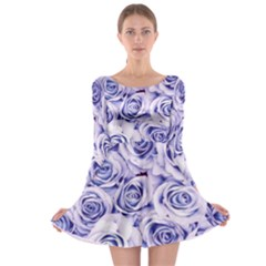 Electric white and blue roses Long Sleeve Skater Dress
