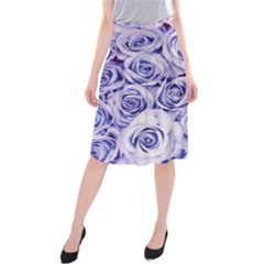 Electric white and blue roses Midi Beach Skirt