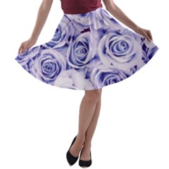 Electric white and blue roses A-line Skater Skirt