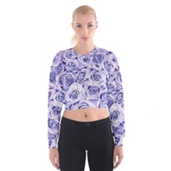 Electric white and blue roses Women s Cropped Sweatshirt