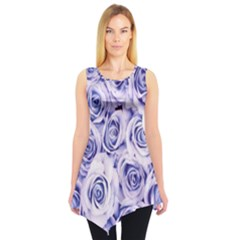 Electric white and blue roses Sleeveless Tunic